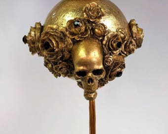 Venetian Paper Mache Christmas Ornament Skulls and Roses Gold
