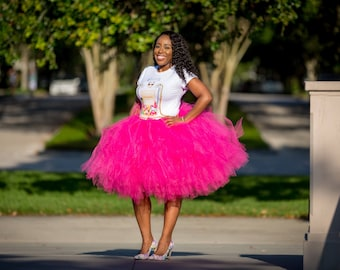 """Fuchsia Adult Tutu for waist up to 34 1/2"""" great for Halloween, Birthdays, Dance and Bachelorette parties"""