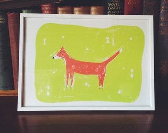 Red Fox - A4 handmade screenprint