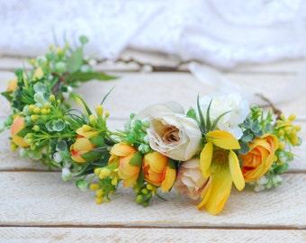 Yellow flower crown Bridal flower crown Flower Crown bridesmaids flower crown floral headband floral crown Boho wedding Bridal flower crown
