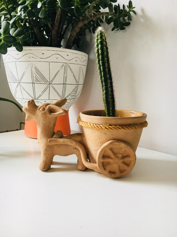 Vintage 1920s Clay Handmade Donkey Indoor Planter - Succulent Planter - Vintage Cacti Planter