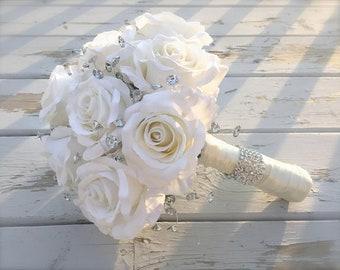 Wedding bouquet, Bridal bouquet, bling bouquet, wedding flowers, silk bouquet, bridesmaids bouquet
