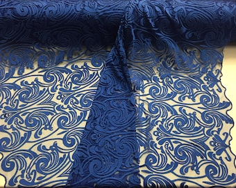 Royal blue modern tribal design embroider on a mesh-prom-nightgown-decorations-sold By the yard