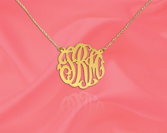 Monogram Necklace .5 inch 14K Yellow Gold Handcrafted Personalized Initial Necklace - Made in USA