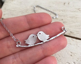 Couple Birds Necklace, Dainty Gift for her, Tiny birds Initial Custom Engraved