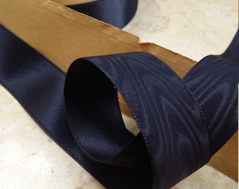 "7/8"" Vintage French Pitch Dark Blue Navy  Satin Faille Watermark Moire Hat Band, Belting, Sash, Strap, Ribbon Trim"