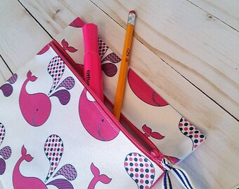 Back to school pencil pouch, Whale pouch, Epi pen bag, Make up pouch, Matching tote and Pencil pouch, Waterproof pouch