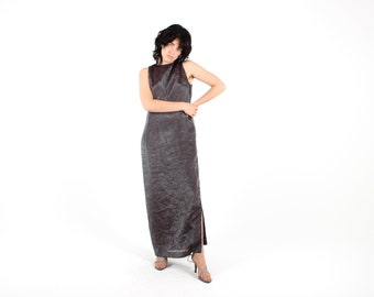 90s Metallic Holographic Floral Embossed Relaxed Minimal High Neck Disco Maxi Party Dress