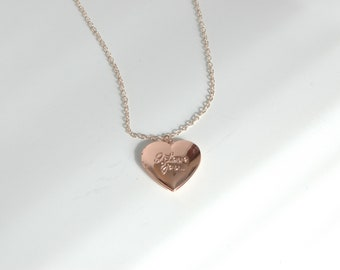 Stainless Steel Rose Gold Colored Heart I Love You Locket Necklace
