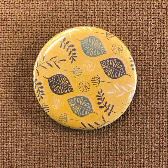Leaves & seeds (Yellow) - Fridge Magnet