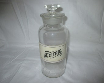 Antique Label Under Glass Apothecary Pharmacy Bottle AC. Citric. 1890's Portland Maine George Frye jar pharmacy medical pharmaceutical