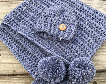 Baby Beanie And blanket, Baby Hats, Mini blanket, Newborn Boys, Girls, crochet