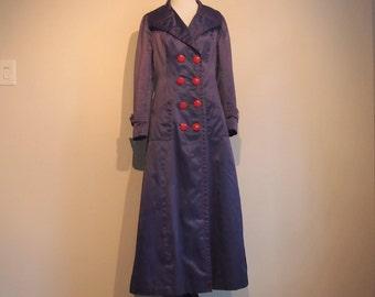Vintage 1969 Trench Coat; Blue Trench Coat Women