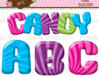 40% Off! Candy Alphabet Digital Clipart Instant download
