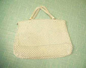 Vintage 1950s Whiting Davis Handbag -  Mesh - White Purse