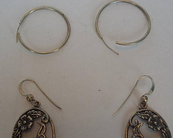 On Sale Two Pairs of Sterling Silver Earrings