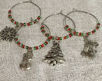 Christmas Themed Wineglass Charms