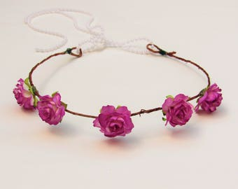 Fuchsia Baby Floral Crown - Flower Crown, Baby Photo Prop, Wedding Flower Crown, Flower Girl Crown, Boho Flower Crowns, Baby Flower Crowns