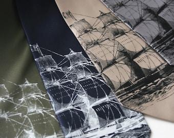 Clipper ship men's necktie. Silkscreen nautical microfiber tie. Choose color and standard or narrow width.
