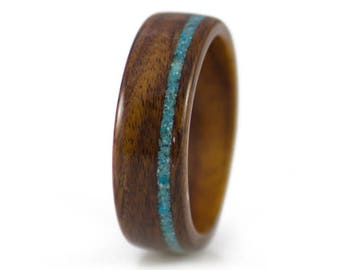 Wood Ring In Rosewood With Turquoise Inlay - Rosewood wedding band, wood rings for women, simple wedding band, wedding bands for women