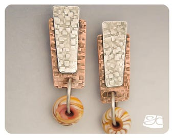 Reverse texture Copper and silver earrings DIY PDF Tutorial
