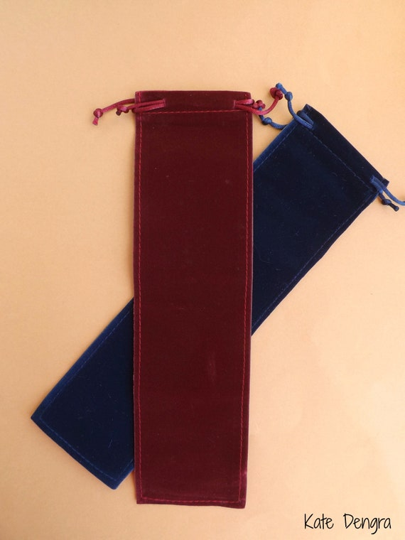 Upgrade Your Order by Adding This Velvet Drawstring Hand Fan Folding Fan Gift Bag in Choice of Navy or Burgundy - Fits up to 24cm Hand Fan
