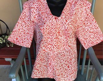 Vintage Joanna USA made red & white semi sheer poly print blouse size 16