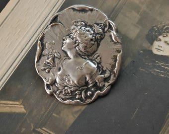 Art Nouveau Lady Brooch