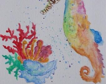 Watercolour Seahorse Print