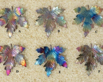 Rainbow Leaf Button Embellishment -  for Jewelry, Quilting, Crafters, Scrapbook - Item #BE-1332D