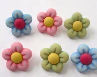 6 Flower buttons fofuchas , fofupen & 3d foam art, appliques, embellishments