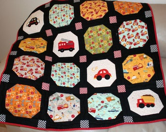 Baby Boy Quilt, Trucks and Cars Quilt, Toddler Quilt, Fire Truck Dump Truck Police Car Embroidered Quilt, Red Black Tummy Time Quilt