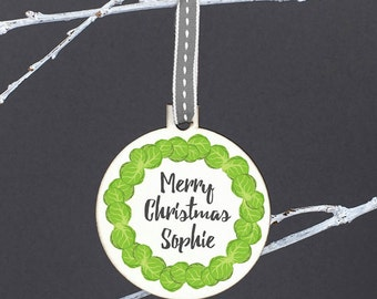 Personalised Brussels Sprout Wreath Christmas Bauble - Brussel Sprout Christmas Bauble - Brussel Sprout Bauble