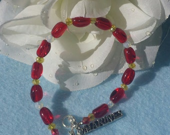 Bracelet with Marines colors and marines charm