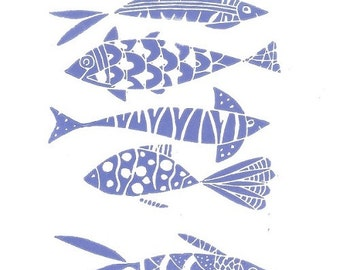 Fishes Linocut Print - Printmaking, Original  Print - Blue Art, Fishes Hand Pulled Print