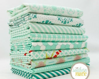 "Handmade - Aqua - Fat Quarter Bundle - 9 - 18""x21"" Cuts - Bonnie and Camille - Moda Quilt Fabric"