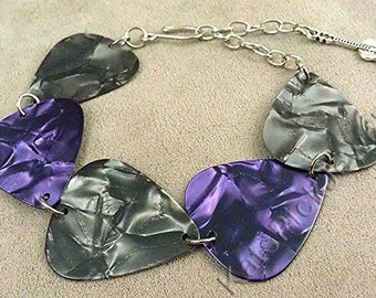 Gray/Grey and Purple Pearl Genuine Guitar Pick Bracelet