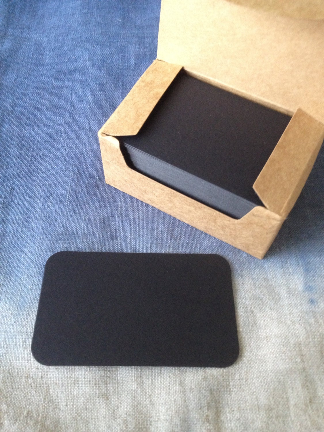 Blank BLACK cardstock with Kraft Paper Box, For DIY Business Card ...