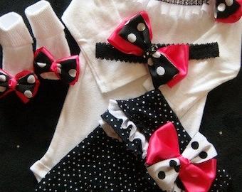 NEWBORN baby girl take home outfit complete shirt pants socks headband hot pink black white polka dot