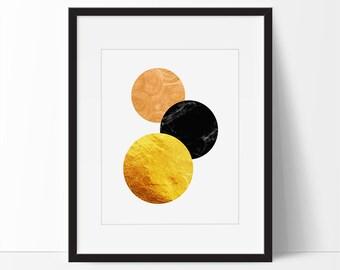 Abstract Art Print, Printable Gold Geometric Abstract, Circle Abstract, 8x10, 5x7 Abstract Print, Abstract Black Gold Printable, Gold Print.