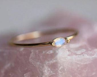 "14K ""Wink"" Marquise Moonstone Ring, Blue Rainbow Moonstone, Solitaire Ring, Stacking Ring, Tiny Stone Ring, Rose, White, Yellow"