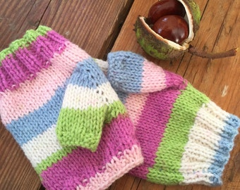 Fingerless gloves multi colour, knitted handwarmers, candy coloured yarn, woollen mitts, colourful gloves, ready to ship, hand knitted