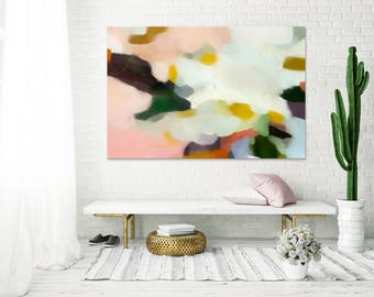 Valentina, 15x10-60x40,Extra Large Abstract Art Print, pink abstract, green abstract, landscape