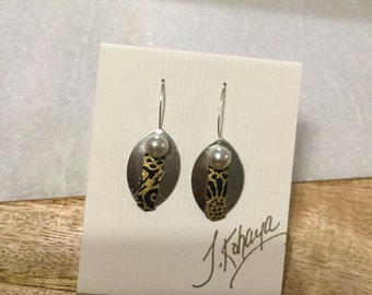 Japanese washi paper black gold brushed aluminum pearl silver drop earrings by cra1nes on etsy