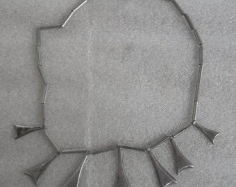 Vintage Taxco Mexico Art Deco Nuevo 925 Mexican Sterling Silver Necklace Heavy 50.4gr