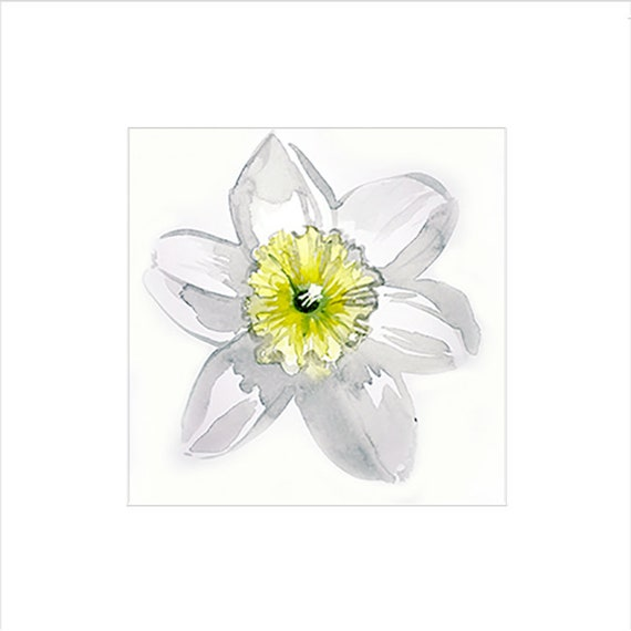 Watercolor flower painting-First Daff- original by Gretchen Kelly