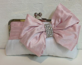 Bridal Bow Clutch, Rhinestone, Wedding Clutch, Pink Purse, Formal Purse, Prom Clutch {Glam'd Up Pretty Kisslock}