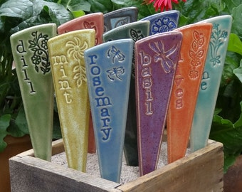 3 Herb Garden Markers - Plant Markers - A Set of 3 ceramic garden stakes - READY TO SHIP
