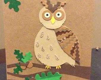 Woodland owl with acorns card