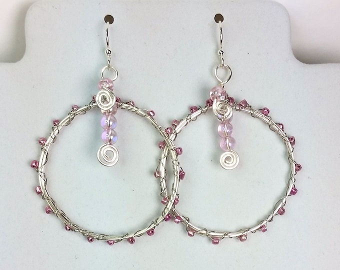 Silvery Happy Hoop Earrings With Pinkish Mauve Metallic Sparkle Beads